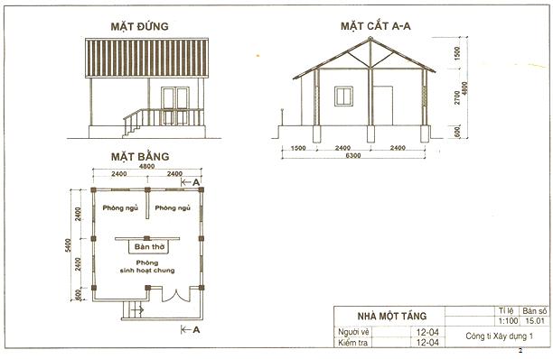 Bản vẽ nhà một tầng